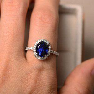NEW Silver Sapphire Diamond Halo Oval Cut Ring